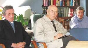 Aux « Stations », en salle de communauté (de g. à dr.) Joseph Huet, Claude Bernard, Jacques Sommet