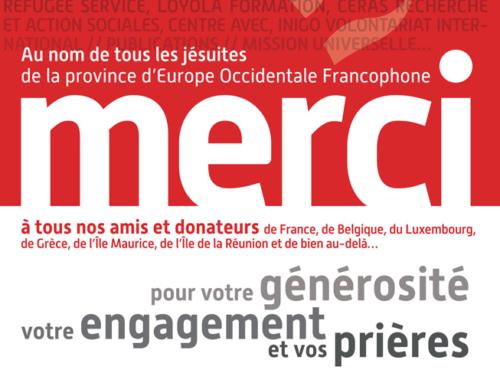 La Province jésuite EOF remercie ses donateurs pour leur générosité