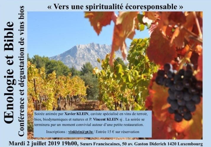 Vers une spiritualité éco-responsable conférence sur l'œnologie et la bible à Luxembourg