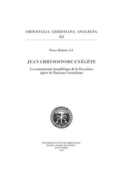 Jean Chrysostome exégète Pierre Molinié